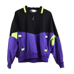 Vintage 90s windbreaker ¼ zip pullover jacket neon